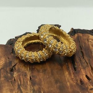Vintage pave chunky rhinestones gold hoops magnet